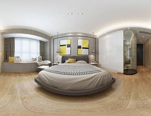 现代床具组合, 壁画, 双人床, 吊灯, 置物柜, 床头柜, 椅子, 现代