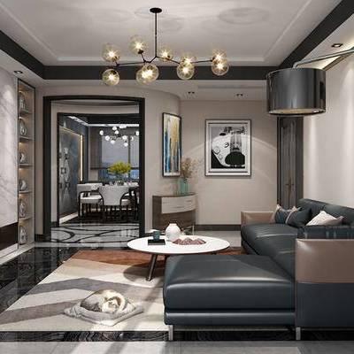 现代客厅, 吊灯, 多人沙发, 壁画, 茶几, 落地灯, 椅子, 边柜, 现代
