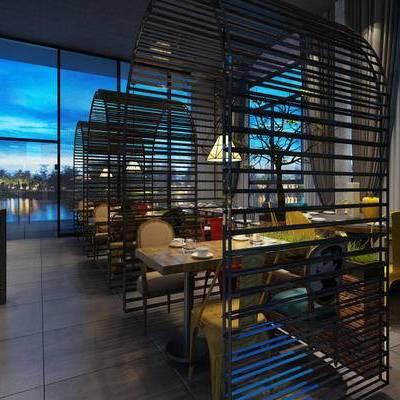 东南亚, 餐厅, 桌椅组合, 吊灯, 餐具, 1000套空间酷赠送模型