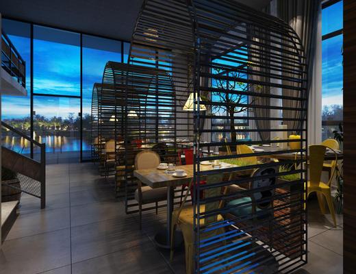 东南亚, 餐厅, 桌椅组合, 吊灯, 餐具