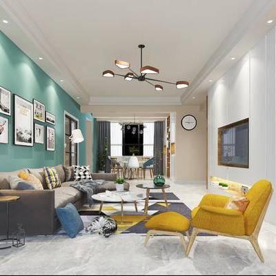 现代客厅, 吊灯, 边几, 多人沙发, 台灯, 椅子, 茶几, 落地灯, 桌子, 盆栽, 现代