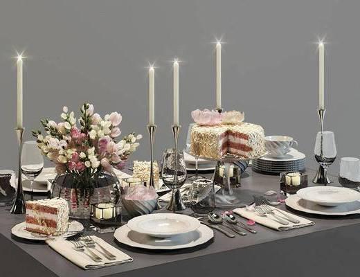 欧式简约, 餐桌椅组合, 餐具组合, 食物, 烛台