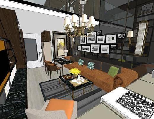 现代公寓, 壁画, 多人沙发, 桌子, 椅子, 吊灯, 茶几, 电视柜, 双人床, 现代