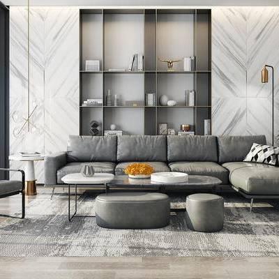 沙发组合, 多人沙发, 单人沙发, 茶几, 落地灯, 置物柜, 沙发凳, 边几, 盆栽, 地毯, 现代