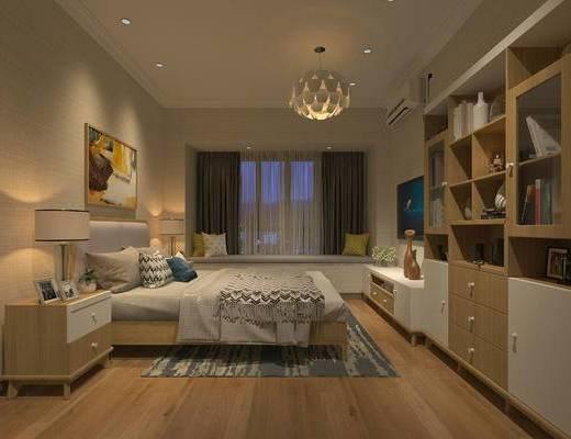 北欧卧室, 双人床, 吊灯, 壁画, 床头柜, 台灯, 电视柜, 飘窗, 储物柜, 地毯, 北欧