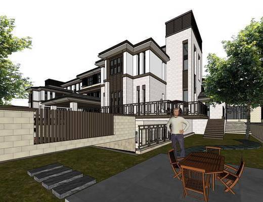 别墅, SU模型, 新中式