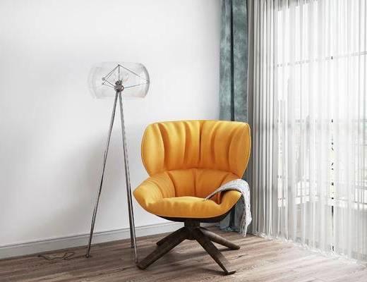 单椅, 落地灯, 北欧