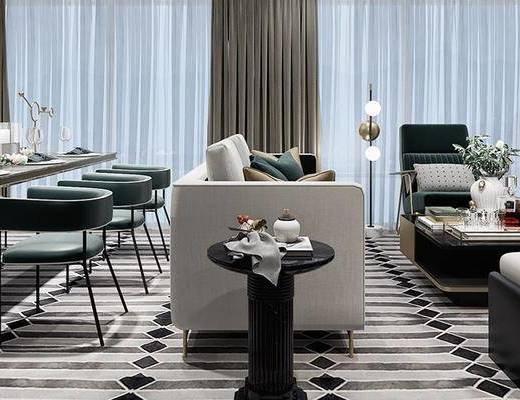 现代简欧客厅, 客厅, 沙发组合