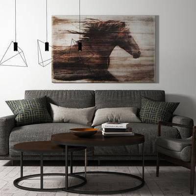 沙发组合, 茶几, 双人沙发, 椅子, 壁画, 吊灯, 北欧