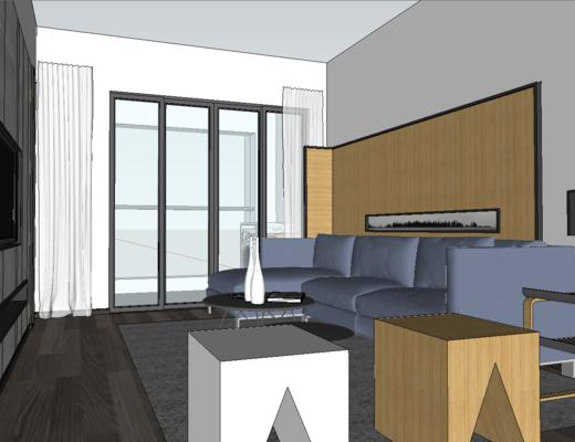 客厅, 餐厅, 卧室, 现代, 沙发组合, 餐桌