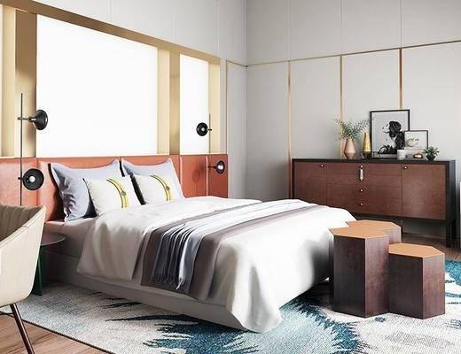 后現代臥室, 雙人床, 邊柜, 椅子, 落地燈, 后現代