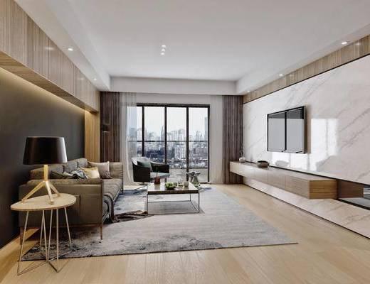 现代, 电视墙, 客厅, 沙发组合, 沙发茶几组合, 边几, 台灯, 多人沙发, 单人沙发, 地毯