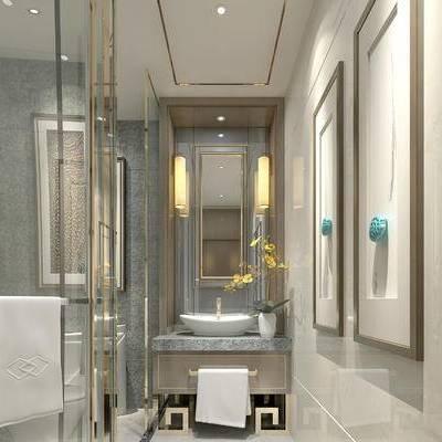 卫浴, 壁灯, 洗手台, 淋浴间, 镜子, 现代