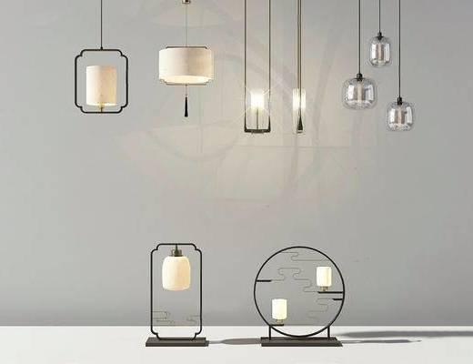 中式, 吊灯, 台灯