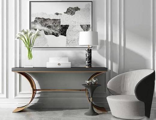 现代简约, 沙发, 玄关案几, 组合