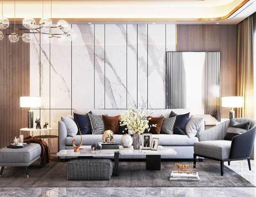 客厅, 沙发组合, 茶几组合, 吊灯, 边几