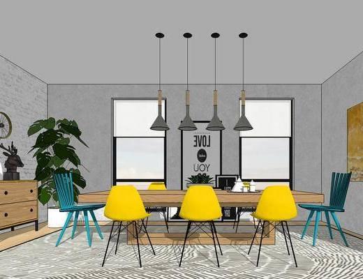 现代餐厅, 桌子, 椅子, 吊灯, 壁画, 现代