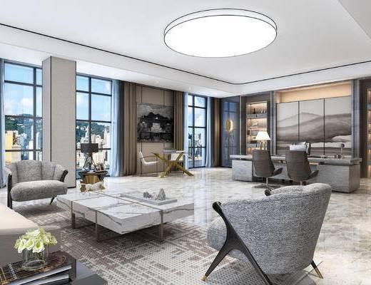 现代办公室, 桌子, 椅子, 吊灯, 茶几, 多人沙发, 壁画, 置物柜, 现代