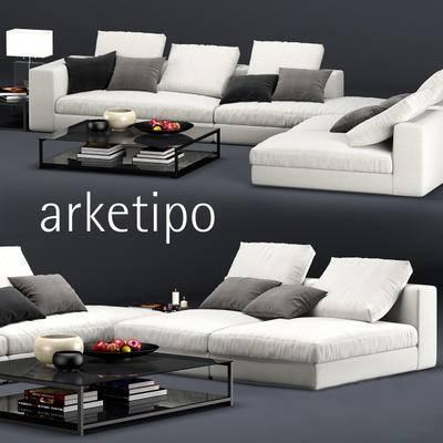 茶几, 沙发, 台灯, 果盘, 书籍, 枕头, 摆件, 现代