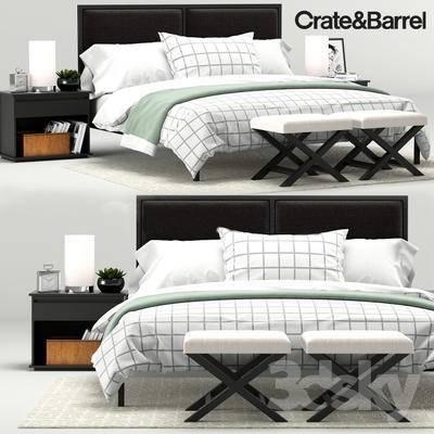 双人床组合, 床头柜, 台灯, 盆栽, 椅子, 闹钟, 枕头, 被子, 书籍, 收集箱, 地毯, 北欧