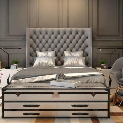 床具组合, 双人床, 床头柜, 简欧