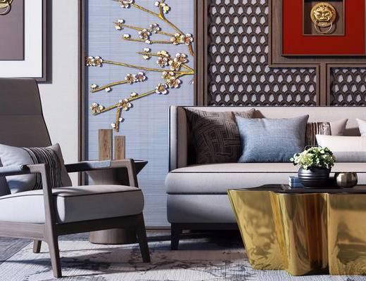 现代简约, 沙发茶几组合, 墙饰, 植物盆栽, 现代