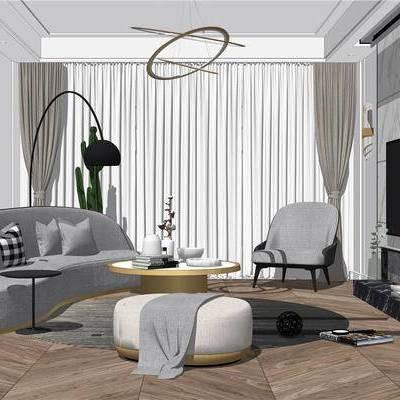 客厅, 沙发, 吊灯, 落地灯, 电视, 椅子, 现代, 现代客厅, 茶几