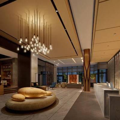 大厅, 前台, 多人沙发, 桌子, 椅子, 落地灯, 置物柜, 现代