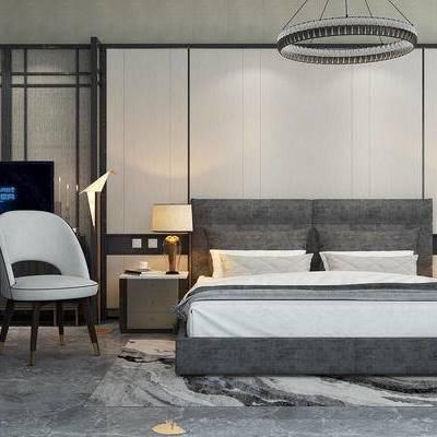 床具组合, 双人床, 床头柜, 台灯, 椅子, 吊灯, 新中式