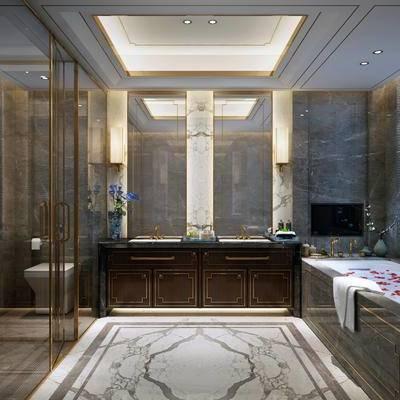 现代卫浴, 浴缸, 洗手台, 壁灯, 现代