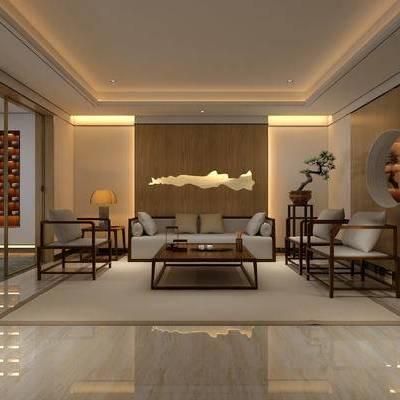 中式客厅, 桌子, 椅子, 边几, 台灯, 茶几, 盆栽, 地毯, 中式