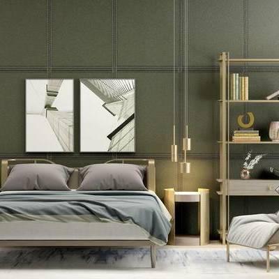 床具组合, 双人床, 椅子, 壁画, 吊灯, 床头柜, 边几, 置物架, 现代