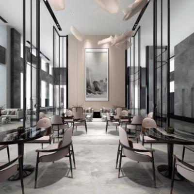 新中式售楼处, 桌椅组合, 壁画, 吊灯, 地毯, 多人沙发, 新中式
