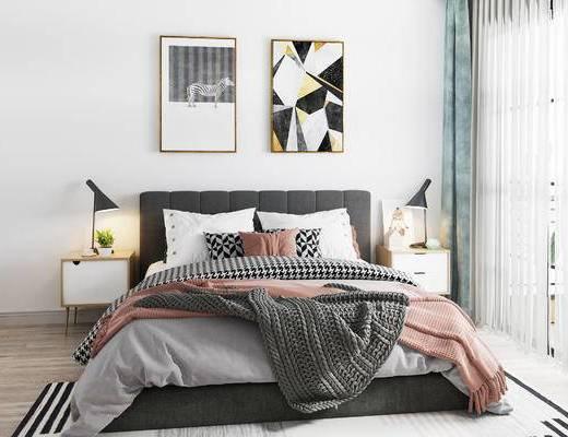 床具组合, 双人床, 床头柜, 壁画, 吊灯, 北欧
