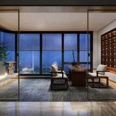 茶室, 桌子, 椅子, 置物柜, 地毯, 新中式