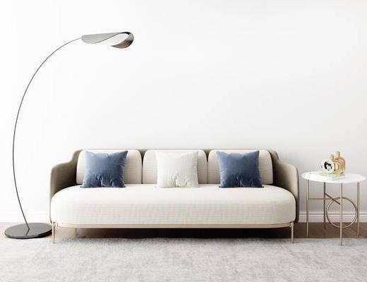 沙发组合, 多人沙发, 落地灯, 圆几, 后现代