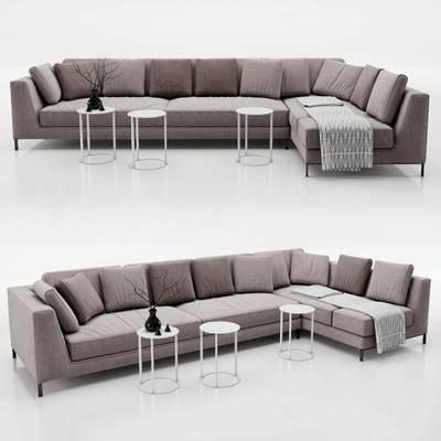 多人沙发, 现代, 茶几, 靠枕, 沙发组合