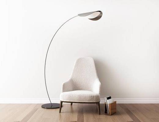 沙发组合, 单人沙发, 落地灯, 现代