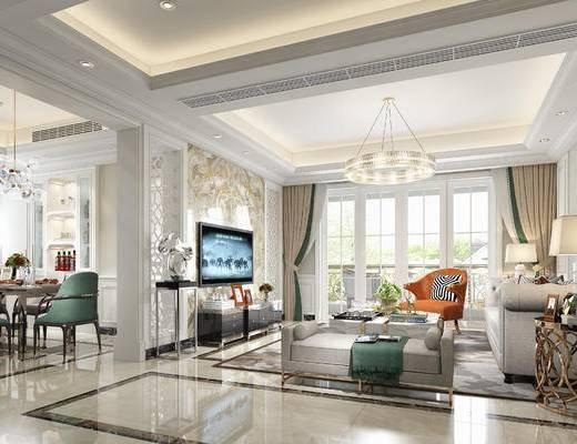 欧式客厅, 多人沙发, 茶几, 边几, 台灯, 吊灯, 电视柜, 椅子, 桌子, 地毯, 沙发躺椅, 欧式