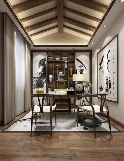 中式书房, 桌子, 椅子, 置物柜, 壁画, 台灯, 地毯, 中式
