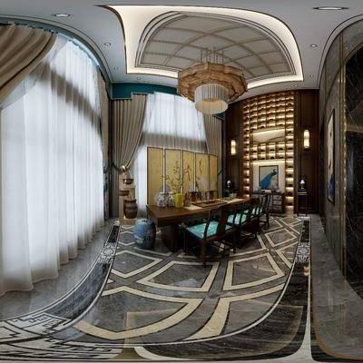 新中式别墅玄关, 新中式桌椅组合, 屏风, 吊灯, 壁画, 边柜, 壁灯, 储物柜, 花瓶, 台灯, 新中式装饰摆件组合, 新中式