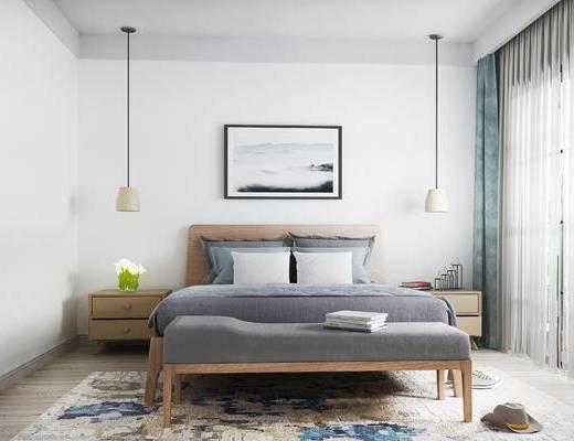 床具组合, 双人床, 壁画, 床头柜, 吊灯, 北欧