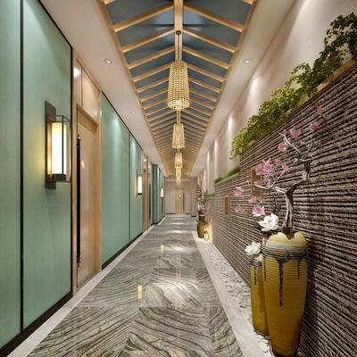 走廊过道, 吊灯, 壁灯, 盆栽, 新中式