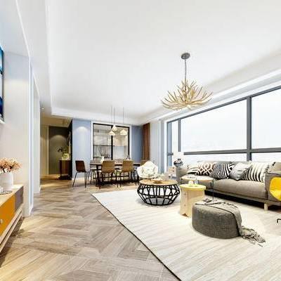 现代客厅, 多人沙发, 吊灯, 椅子, 边几, 桌子, 落地灯, 电视柜, 壁画, 边柜, 现代