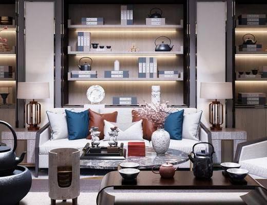 新中式茶室, 多人沙发, 置物柜, 茶几, 边几, 台灯, 椅子, 花瓶, 新中式