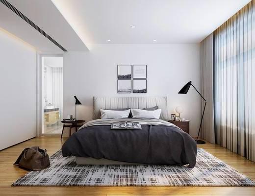 现代, 卧室, 床, 落地灯, 挂画, 床头柜