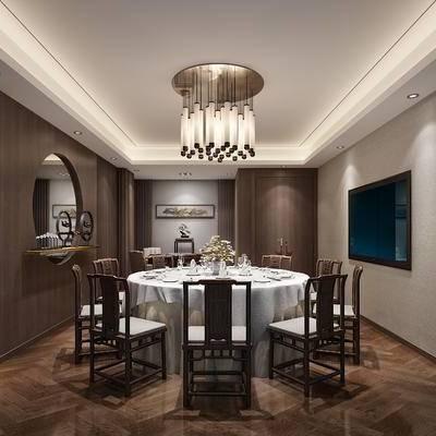 中式包间, 吊灯, 桌子, 椅子, 壁画, 边几, 置物柜, 中式