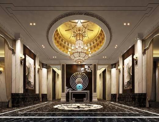 大厅, 吊灯, 壁灯, 壁画, 边几, 现代