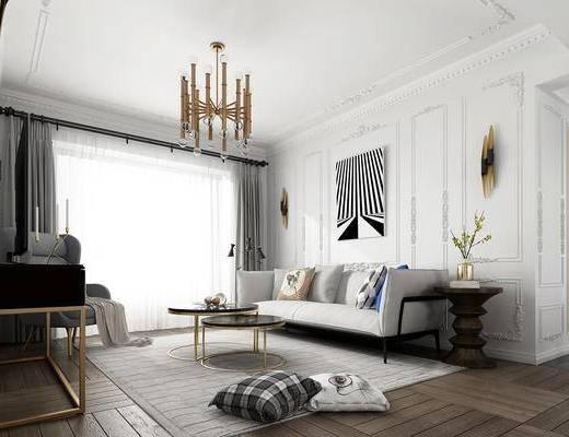 北欧, 客厅, 餐厅, 沙发, 茶几, 吊灯, 餐桌, 椅子, 窗帘
