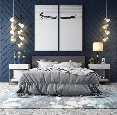 床具组合, 双人床, 床头柜, 壁画, 吊灯, 台灯, 北欧
